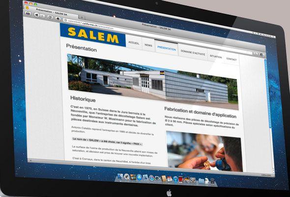 Site internet de Salem SA — décolletage de précision